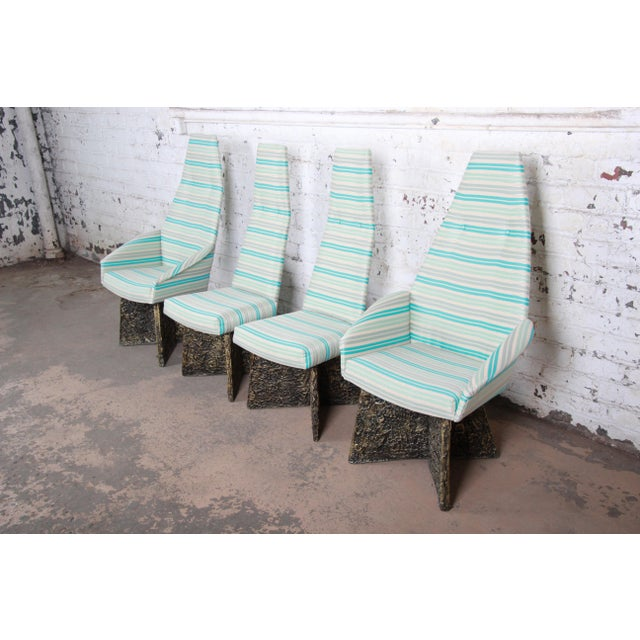 Brutalist Adrian Pearsall Mid-Century Brutalist High Back Dining Chairs - Set of 4 For Sale - Image 3 of 13
