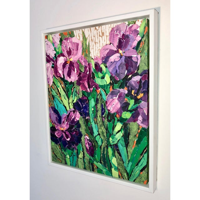 "2010s ""Purple Irises II"" Acrylic Collage Painting For Sale - Image 5 of 7"