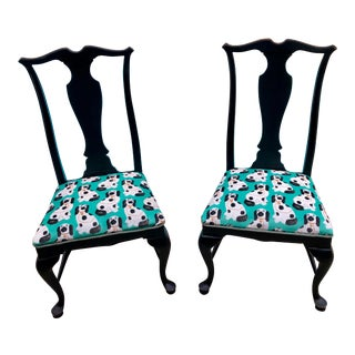 Queen Anne Chairs With Staffordshire Dog Fabric - a Pair For Sale