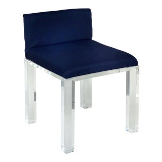 Lucite Vanity Bench/ Stool W/ Thick Lucite Legs and Upholstered Seat For Sale