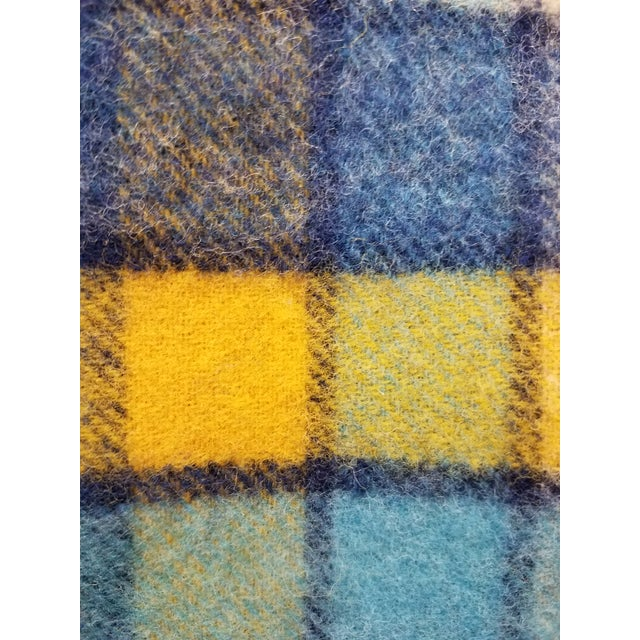 Wool Throw Blues and Yellow Squares - Made in England For Sale - Image 11 of 13