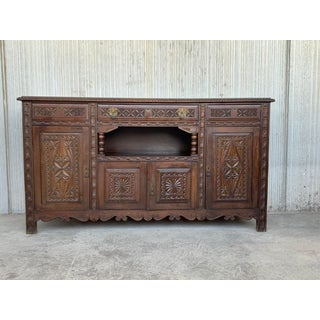19th Spanish Carved Walnut Cupboard or Buffet Preview