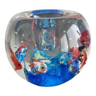 Mid-Century Modern Murano Aquarium Candle Holder For Sale