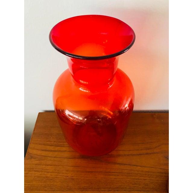 Glass Blenko Tangerine Orange Floor Vase Scarce Oversized - # 7048 For Sale - Image 7 of 13