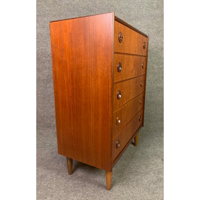 1960s Vintage Danish Mid Century Modern Teak Gentleman's Chest Dresser For Sale - Image 5 of 10
