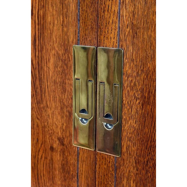 1970s Campaign Style Henredon Pecan Double Armoire With Brass Pulls For Sale - Image 5 of 10