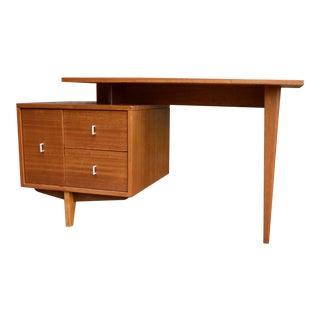1950s Mid Century Modern John Keal for Brown Saltman Floating Mahogany Writing Desk For Sale