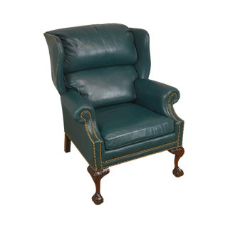 Hancock & Moore Chippendale Style Ball & Claw Mahogany Green Leather Wing Chair For Sale