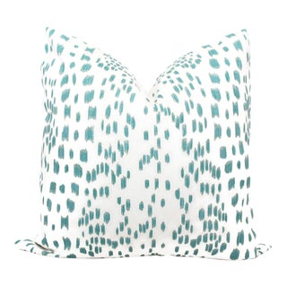 """20"""" x 20"""" Brunschwig Fils Les Touches Aqua & White Decorative Pillow Cover For Sale"""