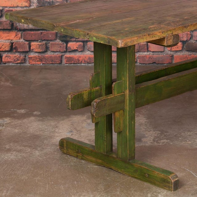 Late 19th Century 19th Century Rustic Green Painted Harvest/Farm Trestle Table For Sale - Image 5 of 9