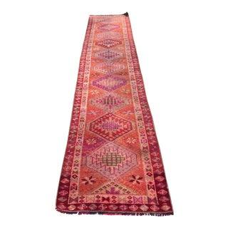 Vintage Turkish Wool Runner Rug - 2′11″ × 12′2″ For Sale