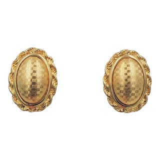 1960s Monet Domed Checked Earrings For Sale