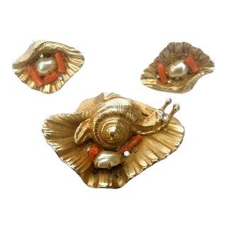 Charming Gilt Metal Sea Life Snail Brooch & Earrings For Sale