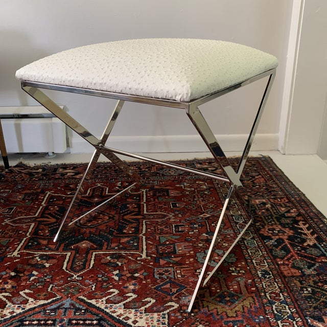 """Modern Worlds Away """"x"""" Upholstered Stool For Sale - Image 3 of 5"""