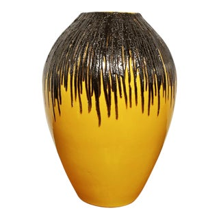 1960s Yellow and Black E S Keramik Fat Lava Floor Vase For Sale