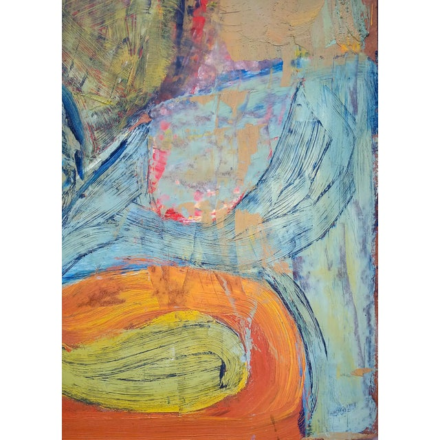 Abstract 1960s Modernist Abstract Oil Painting, Framed For Sale - Image 3 of 7