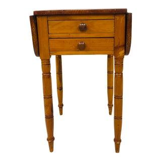 Antique Primitive Drop Side 2 Drawer Table For Sale