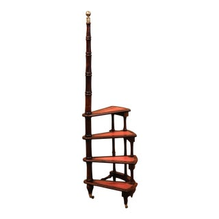 20th Century English Carved Walnut and Leather Spiral Step Library Ladder For Sale