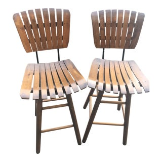 Mid 20th Century Vintage Slat Wood Bar Stools-a Pair For Sale