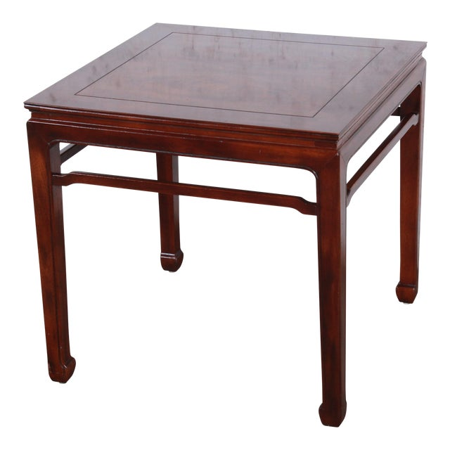 Henredon Hollywood Regency Chinoiserie Burl Wood and Mahogany Side Table For Sale