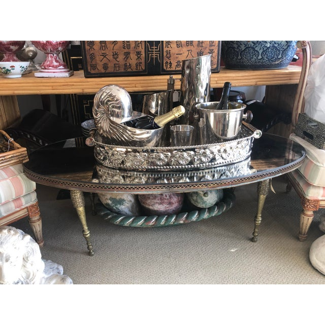 1940s French Mirrored Top Cocktail Table With Brass Gallery & Bronze Legs, C.1940-50 For Sale - Image 5 of 11