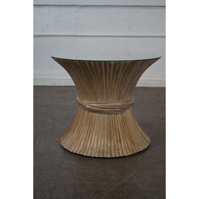 McGuire Style Rattan Wheat Sheaf Glass Top Side Table - Image 3 of 10