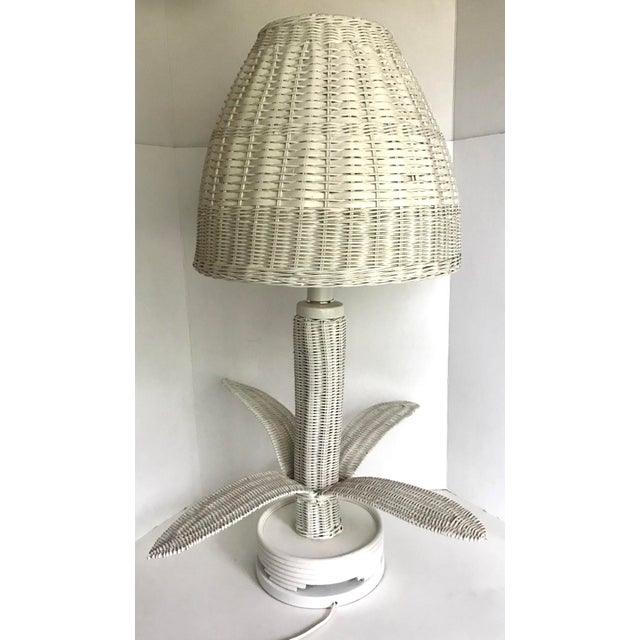 Vintage Wicker Rattan Leafed Lamps - a Pair For Sale - Image 9 of 11