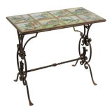 Image of 20th Century Spanish Style Tile Top and Iron Side Table For Sale
