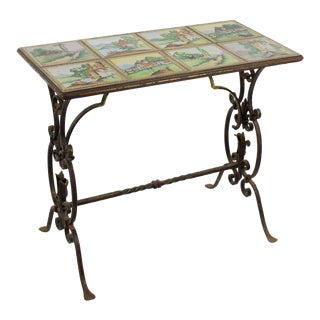 20th Century Spanish Style Tile Top and Iron Side Table For Sale