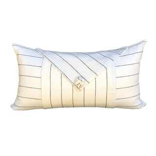 Transitional White Linen Pillow With Black Stripes For Sale