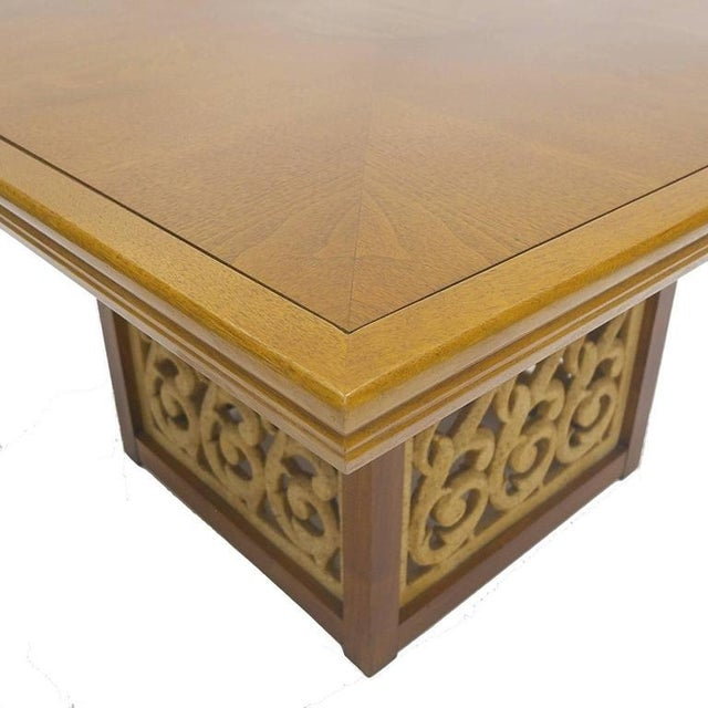 Rare Widdicomb Walnut Coffee or Cocktail Table With Decorative Base For Sale In New York - Image 6 of 8