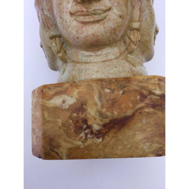 Soapstone Soapstone Hand-Carved Bust of Brahma With Four Faces For Sale - Image 7 of 13