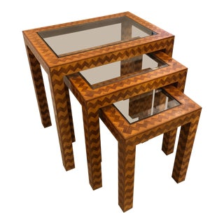 1960s Italian Trio of Inlaid Nesting Tables - Set of 3 For Sale