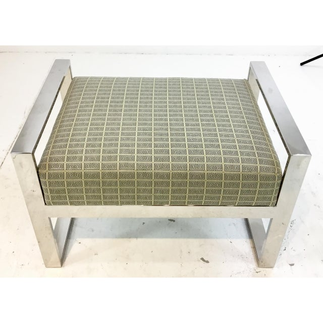 Metal Mid-Century Modern Inspired Vanguard Greek Key and Chrome Chair and Ottoman Set For Sale - Image 7 of 9