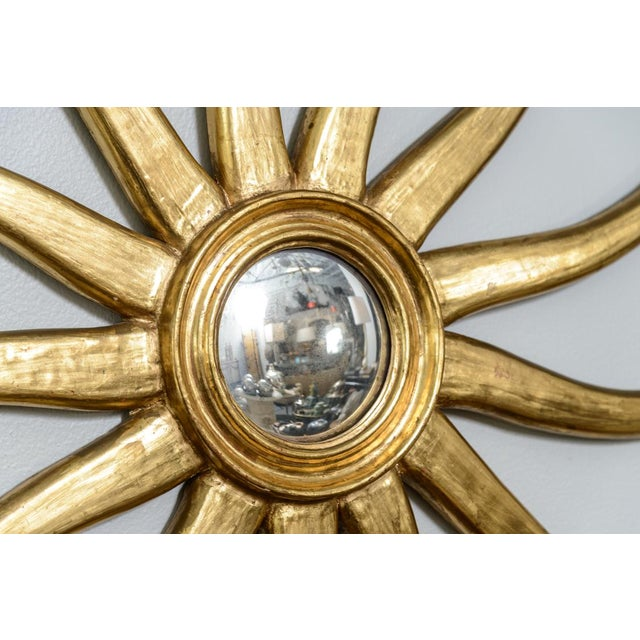 French Giltwood Sunburst Convex Mirror - Image 7 of 10