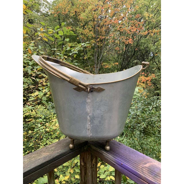 Bath Water Scuttle or Pail. All Metal. Brass Trim, Handle, Feet And Bail. Holds 10 Gallons and Doesn't Leak. Extremely...