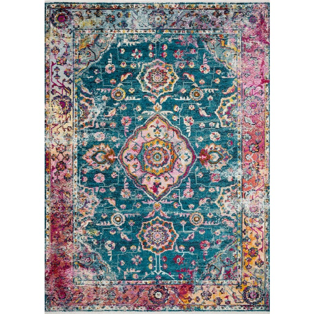 """Loloi Rugs Loloi Rugs Silvia Rug, Teal / Berry - 2'6""""x10'0"""" For Sale - Image 4 of 4"""