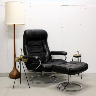 1970s Vintage Ekornes Stressless Black Leather Recliner Chair and Ottoman Preview