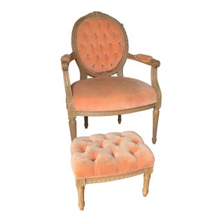 1980s Vintage French Style Louis XVI Arm Chair & Ottoman For Sale
