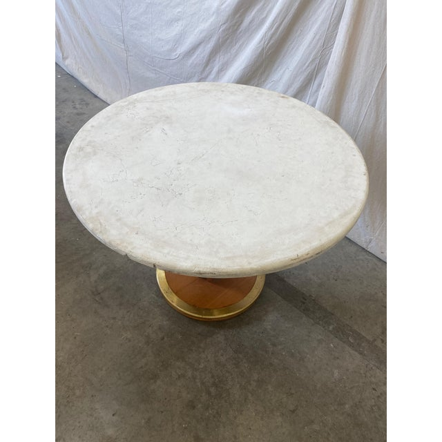 Round Stone Top Italian Pedestal Dining Game Table - Mid Century For Sale - Image 4 of 10