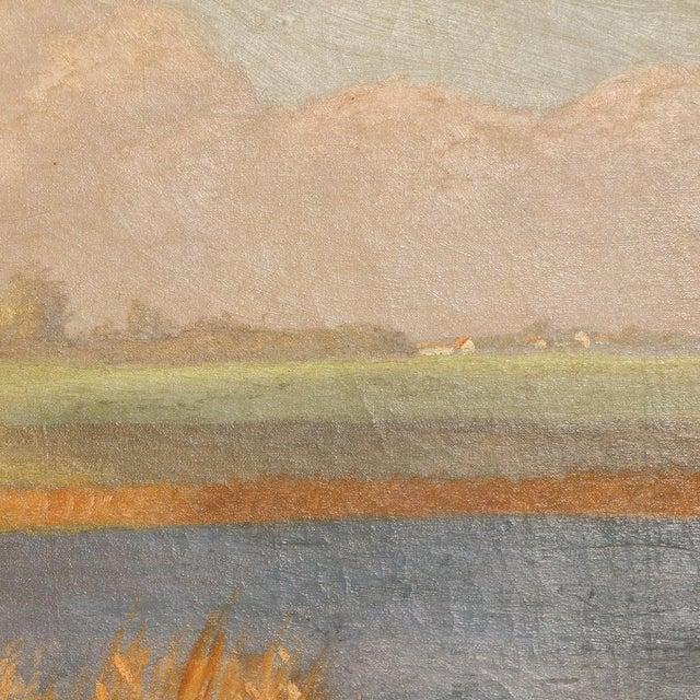 "Wood Original Antique ""Shore Birds in a Marsh"" Landscape Painting Signed C. Hoyrup For Sale - Image 7 of 10"