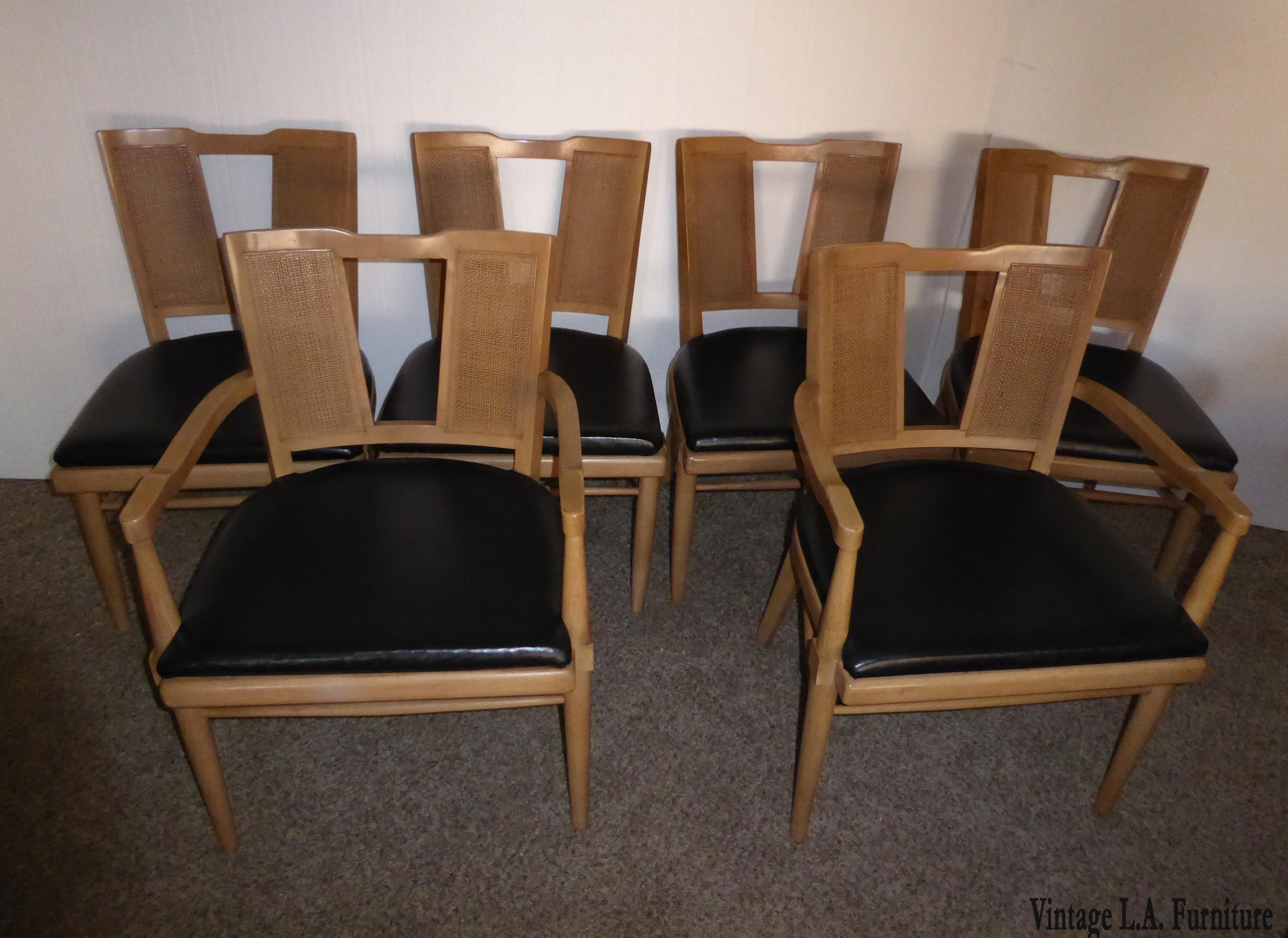 Beau Set Of Six Vintage Danish Modern Style Cane Back Dining Chairs By American  Furniture Company Gorgeous