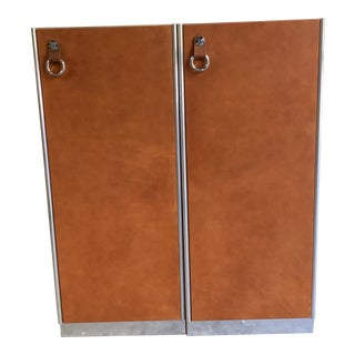 Guido Faleschini for Hermès Leather Wardrobe Cabinets - a Pair For Sale