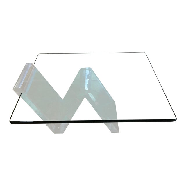 Cantilevered Glass & Lucite Coffee Table For Sale