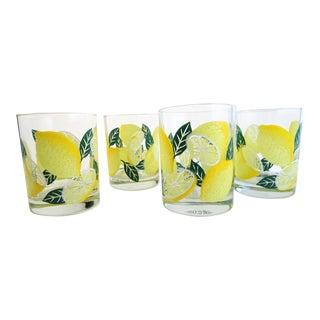 Vintage Culver Lemon Tumbler Glasses - Set of 4