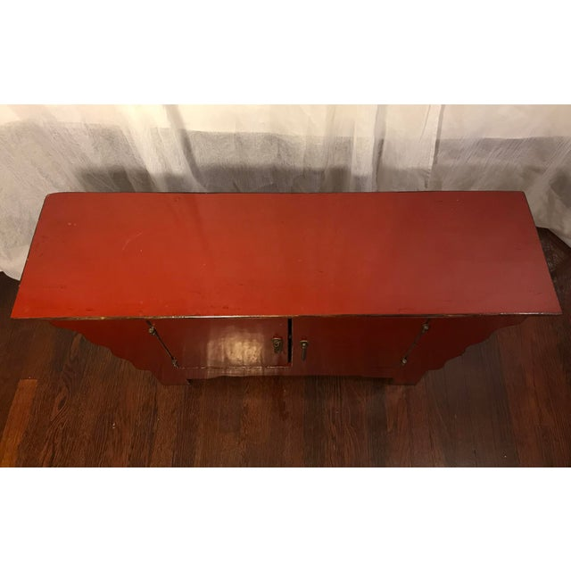Mid 20th Century 20th Century Chinese Cinnabar Colored Lacquered Sideboard Buffet For Sale - Image 5 of 11