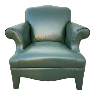 Neotraditional Fully Upholstered Green Leather Lounge Chair Donghia Manner For Sale