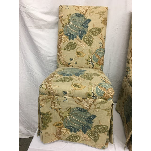 This set of four custom upholstered parson's chair in cotton linen floral were donated to us from a smoke-free, pet-free...