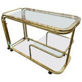 Image of Milo Baughman Style Brass Bar Cart by Design Institute of America For Sale