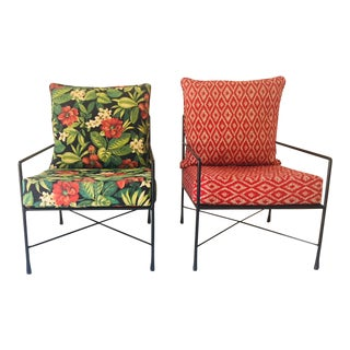 Outdoor Iron Club Chairs - a Mixed Pair